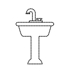 Home sink for toilet bathroom ceramic vector