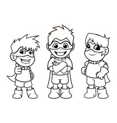 Kid Super Heroes Standing Pose Outline vector image