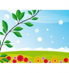 landscape with a blooming meadow vector image