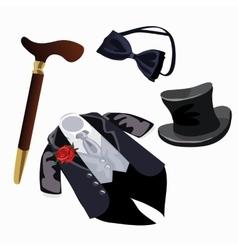 Luxury mens formal attire tuxedo and accessories vector