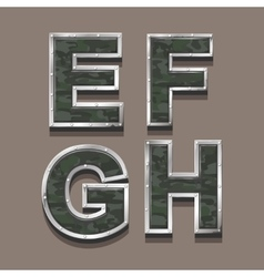 Military letters alphabet steel metallic khaki vector