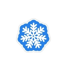 paper sticker on white background Christmas vector image vector image