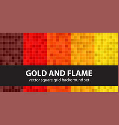 Pixel pattern set gold and flame seamless vector