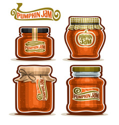 Pumpkin jam in jars vector