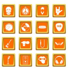 Rock music icons set orange vector