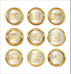 sale retro vintage golden badges and labels 01 vector image vector image