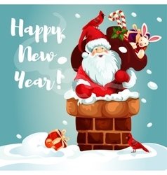 Santa with gift bag on the roof vector
