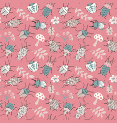 Seamless pattern with cute small beetles and vector