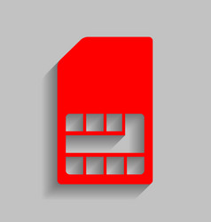 Sim card sign red icon with soft shadow vector