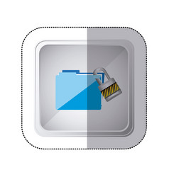 Sticker silver square button with blue folder wit vector
