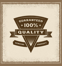Vintage 100 percent quality label vector