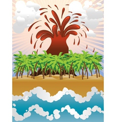 Volcano island3 vector image vector image