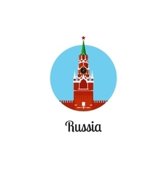 Russia landmark isolated round icon vector