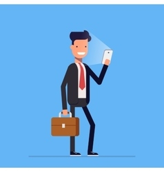 Businessman or manager standing with phone and vector image