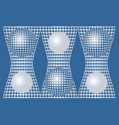 Abstract blue background with silver metallic grid vector