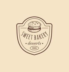 Vintage bakery logo typographic poster vector