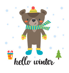 Cute card with little bear hello winter vector