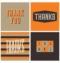 Retro design thank you greeting cards vector
