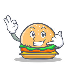 Burger character fast food call me vector