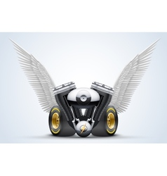 Symbol of motorcycle engine with white open wings vector