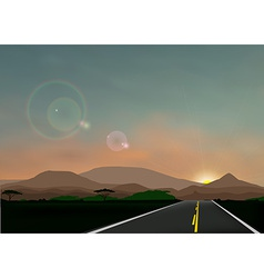 Landscape with sunset vector