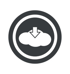 Round black cloud download sign vector