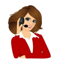 Female customer support phone operator vector