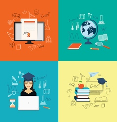 Flat elements of education vector