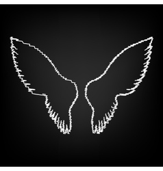 Wings sign scribble effect vector
