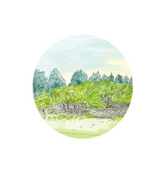 Trees in park with cornwall oval watercolor vector