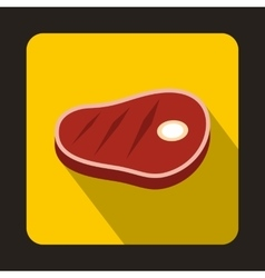Meat steak icon in flat style vector