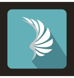 White wing icon in flat style vector