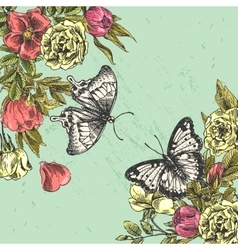 Sketching of butterflies and flowers vector