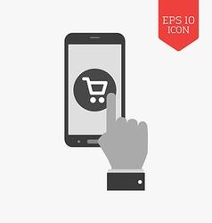 Mobile shopping concept icon flat design gray vector