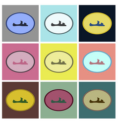 assembly flat icons flip flops vector image