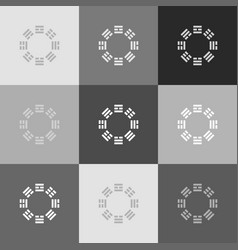 Bagua sign grayscale version of popart vector