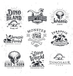 Big dinosaur logo set triceratops t-shirt vector