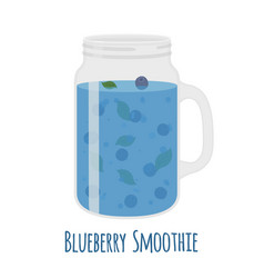 Blueberry smoothie in mason jar glass with vector