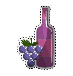 Bottle of wine and grape fruit tasty vector