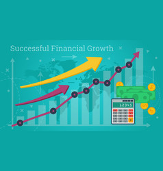 Business banner - successful financial growth vector