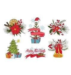 Christmas tree branchesflowersdecor group vector image vector image