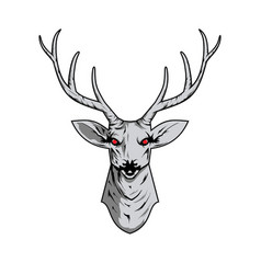 contour of a deer skull with antlers vector image