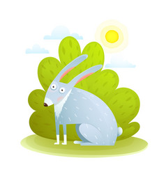 cute kids rabbit in forest vector image