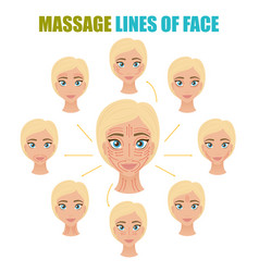 Face massage lines set vector