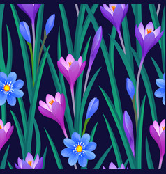 Floral seamless pattern with crocuses vector