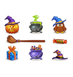 funny cartoon halloween icons vector image vector image