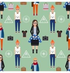 Girl hipster seamless pattern vector