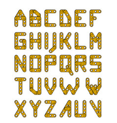 gold construction alphabet vector image vector image