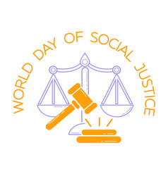 Greeting card world day of social justice vector