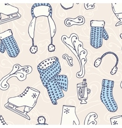 Hand drawn winter accessories seamless pattern vector